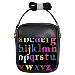 Alphabet Letters Colorful Polka Dots Letters In Lower Case Girls Sling Bags by Simbadda