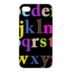 Alphabet Letters Colorful Polka Dots Letters In Lower Case Apple iPhone 4/4S Premium Hardshell Case