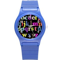 Alphabet Letters Colorful Polka Dots Letters In Lower Case Round Plastic Sport Watch (S)