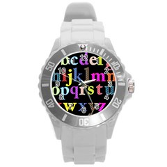 Alphabet Letters Colorful Polka Dots Letters In Lower Case Round Plastic Sport Watch (L)