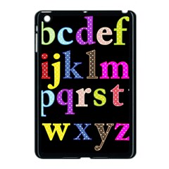 Alphabet Letters Colorful Polka Dots Letters In Lower Case Apple iPad Mini Case (Black)