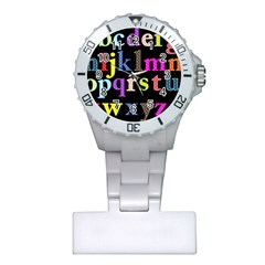 Alphabet Letters Colorful Polka Dots Letters In Lower Case Plastic Nurses Watch by Simbadda