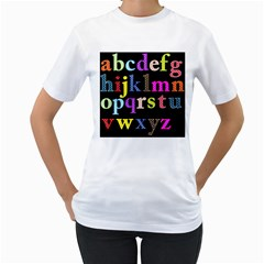 Alphabet Letters Colorful Polka Dots Letters In Lower Case Women s T Shirt (white)  by Simbadda