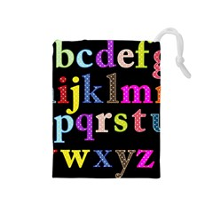 Alphabet Letters Colorful Polka Dots Letters In Lower Case Drawstring Pouches (medium)  by Simbadda