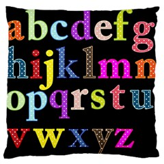 Alphabet Letters Colorful Polka Dots Letters In Lower Case Large Flano Cushion Case (one Side) by Simbadda