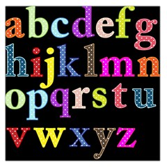 Alphabet Letters Colorful Polka Dots Letters In Lower Case Large Satin Scarf (Square)