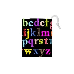 Alphabet Letters Colorful Polka Dots Letters In Lower Case Drawstring Pouches (XS)