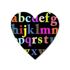 Alphabet Letters Colorful Polka Dots Letters In Lower Case Heart Magnet by Simbadda