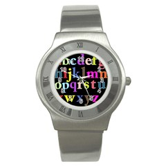 Alphabet Letters Colorful Polka Dots Letters In Lower Case Stainless Steel Watch by Simbadda