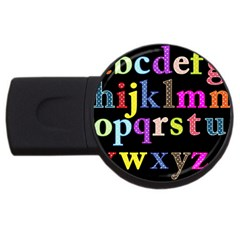 Alphabet Letters Colorful Polka Dots Letters In Lower Case Usb Flash Drive Round (4 Gb) by Simbadda