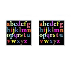 Alphabet Letters Colorful Polka Dots Letters In Lower Case Cufflinks (square) by Simbadda