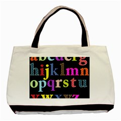 Alphabet Letters Colorful Polka Dots Letters In Lower Case Basic Tote Bag by Simbadda