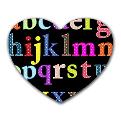 Alphabet Letters Colorful Polka Dots Letters In Lower Case Heart Mousepads by Simbadda