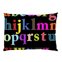 Alphabet Letters Colorful Polka Dots Letters In Lower Case Pillow Case by Simbadda