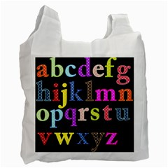Alphabet Letters Colorful Polka Dots Letters In Lower Case Recycle Bag (two Side)  by Simbadda