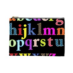Alphabet Letters Colorful Polka Dots Letters In Lower Case Cosmetic Bag (large)  by Simbadda