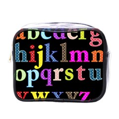 Alphabet Letters Colorful Polka Dots Letters In Lower Case Mini Toiletries Bags by Simbadda