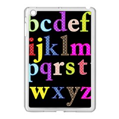 Alphabet Letters Colorful Polka Dots Letters In Lower Case Apple Ipad Mini Case (white) by Simbadda