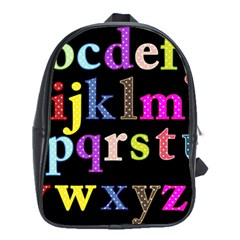 Alphabet Letters Colorful Polka Dots Letters In Lower Case School Bags (xl)  by Simbadda