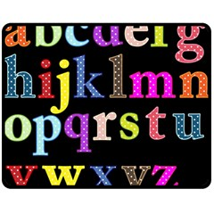 Alphabet Letters Colorful Polka Dots Letters In Lower Case Double Sided Fleece Blanket (medium)  by Simbadda