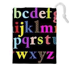 Alphabet Letters Colorful Polka Dots Letters In Lower Case Drawstring Pouches (xxl) by Simbadda