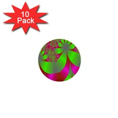 Green And Pink Fractal 1  Mini Buttons (10 Pack)
