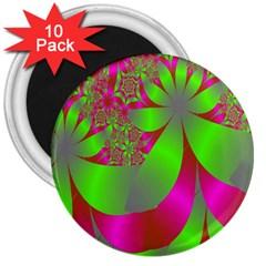 Green And Pink Fractal 3  Magnets (10 Pack)  by Simbadda