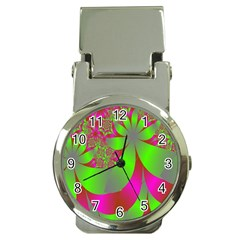 Green And Pink Fractal Money Clip Watches by Simbadda