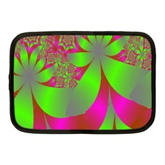Green And Pink Fractal Netbook Case (medium)  by Simbadda