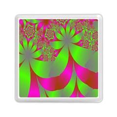 Green And Pink Fractal Memory Card Reader (square)  by Simbadda