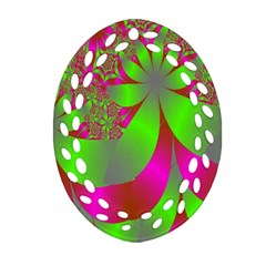 Green And Pink Fractal Oval Filigree Ornament (two Sides) by Simbadda
