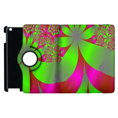 Green And Pink Fractal Apple Ipad 2 Flip 360 Case by Simbadda