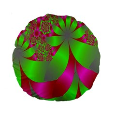 Green And Pink Fractal Standard 15  Premium Round Cushions by Simbadda