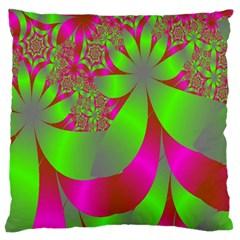 Green And Pink Fractal Standard Flano Cushion Case (two Sides) by Simbadda
