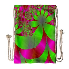 Green And Pink Fractal Drawstring Bag (large) by Simbadda