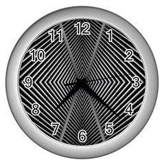 Abstract Of Shutter Lines Wall Clocks (silver)  by Simbadda
