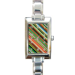 Colorful Stripe Background Rectangle Italian Charm Watch by Simbadda