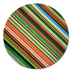 Colorful Stripe Background Magnet 5  (round) by Simbadda