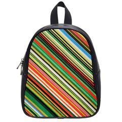 Colorful Stripe Background School Bags (small)  by Simbadda