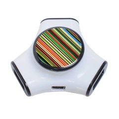 Colorful Stripe Background 3 Port Usb Hub by Simbadda