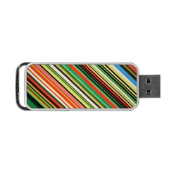 Colorful Stripe Background Portable Usb Flash (two Sides) by Simbadda