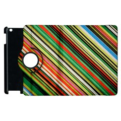 Colorful Stripe Background Apple Ipad 3/4 Flip 360 Case by Simbadda