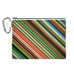 Colorful Stripe Background Canvas Cosmetic Bag (l) by Simbadda