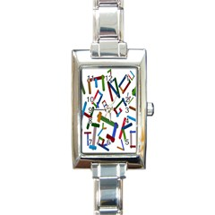 Colorful Letters From Wood Ice Cream Stick Isolated On White Background Rectangle Italian Charm Watch by Simbadda
