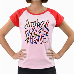 Colorful Letters From Wood Ice Cream Stick Isolated On White Background Women s Cap Sleeve T Shirt