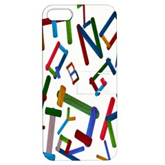 Colorful Letters From Wood Ice Cream Stick Isolated On White Background Apple Iphone 5 Hardshell Case With Stand by Simbadda