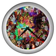 Alien World Digital Computer Graphic Wall Clocks (silver)  by Simbadda