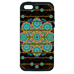 Gold Silver And Bloom Mandala Apple Iphone 5 Hardshell Case (pc+silicone)