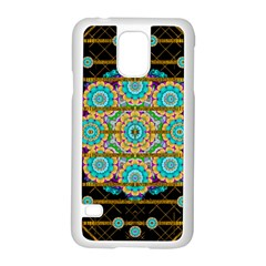 Gold Silver And Bloom Mandala Samsung Galaxy S5 Case (white) by pepitasart