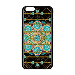 Gold Silver And Bloom Mandala Apple Iphone 6/6s Black Enamel Case by pepitasart
